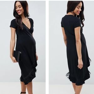 ASOS Maternity Black Fringe Boho Wrap Dress
